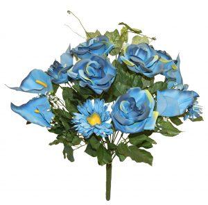 "Blue 23"" Tall M P rose/mum/calla lily Bush x 18"