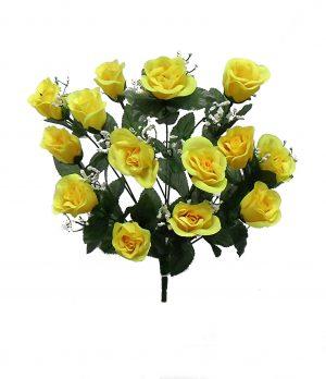 "Yellow 19"" rose Bud Bush x 14"