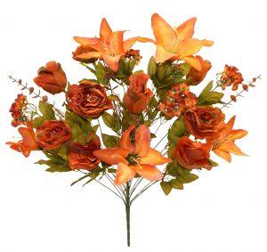 "Orange 28"" tall rose/lily/hydrangea mix flower Bush x 24"