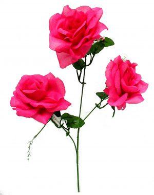 "Fuchsia 25"" Open rose spray x 3"