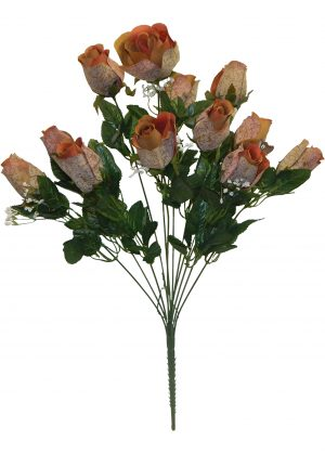 Brown Printing rose Bud Bush with 12 rose Buds