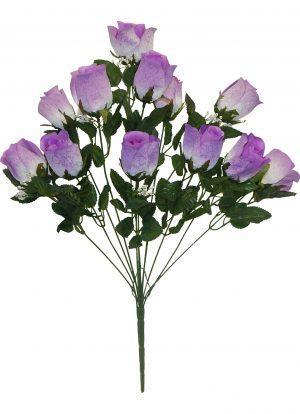 Lavender Printing rose Bud Bush with 12 rose Buds