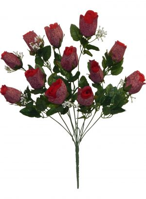 Red Printing rose Bud Bush with 12 rose Buds