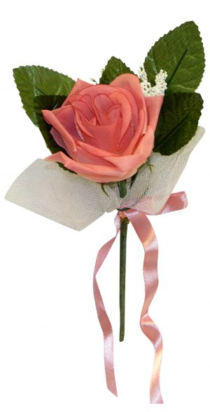Cream/Pink Lace covered open rose boutonniere