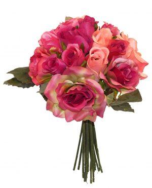 "Fuchsia 14"" tall mixed rose bouquet"
