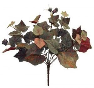 14in  frosted grape leaf hanging x 9 with berries