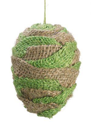 """4.5"""" Burlap Egg Ornament Natural Green"""