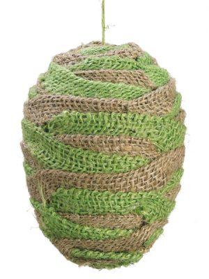 """5.5"""" Burlap Egg Ornament Natural Green"""