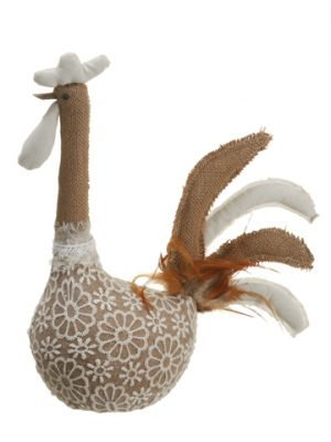 "13.5"" Burlap/Lace Chicken Natural White"