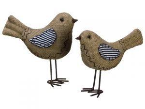 "4.5""-5.5"" Burlap Bird (2ea./set)Brown"