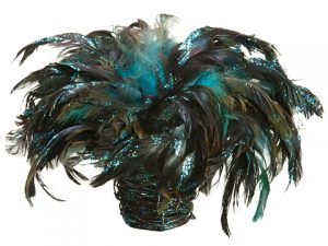 "10"" Feather Birdnest w/Clip in Basket Peacock"