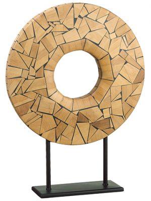 "22"" Wood Mosaic Decor Piece Brown"