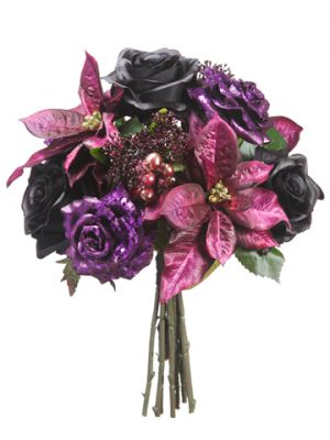 "13"" Glittered Rose/Poinsettia /Skimmia Bouquet Purple Black"