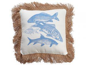 """15'W x 15""""L Fish Pillow Blue White"""