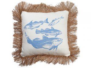 """15""""W x 15""""L Fish Pillow Blue White"""