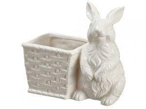 "5.5"" Porcelain Bunny Planter White"