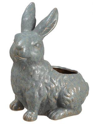 """9"""" Porcelain Bunny Planter Teal"""