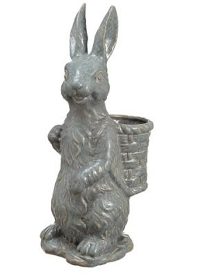 "14.5"" Porcelain Bunny Planter Teal"