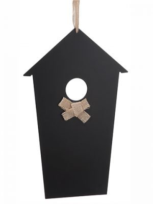 "18"" Hanging Chalkboard Bird House Black"