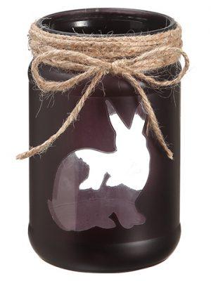"5.75""H x 3.5""D Bunny GlassHurricaneBlack"