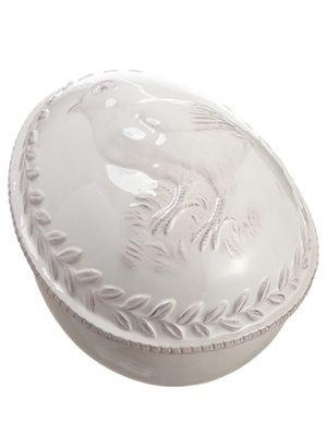 "5""H x 7""L Ceramic Egg Box withChickCream"