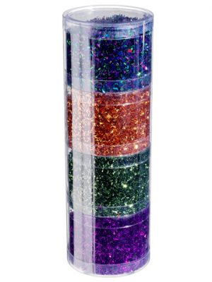 "3.1""Dx2.3""H Assorted/Stacked Glitters in Acetate Tube (4 Colors/ Assortment) Purple Ora"