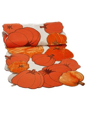 "14""W x 72""L Pumpkin Table Runner Orange Cream"