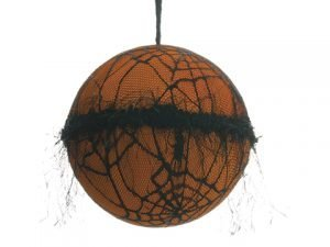 "6"" Spider Web Linen Ball Ornament Black Orange"