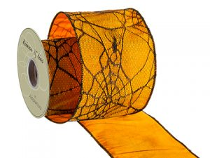 "4""W x 10yd Spider Web Linen Ribbon Black Orange"