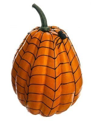 "12""H x 8""D Weighted Spider Web Pumpkin w/Spider Orange Black"