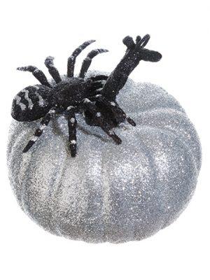 "5""H x 5.5""D Glittered PumpkinWith SpiderSilver Black"