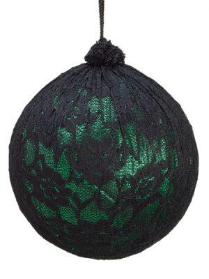 "5"" Lace Ball Ornament Green Black"