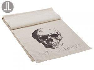 """14""""W x 72""""L Happy HalloweenSkull Table RunnerBlack Beige"""