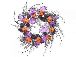 "22"" Pumpkin/Twig/Leaf Wreath Fuchsia Orange"