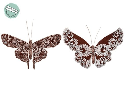 "4.5""W x 7""L Butterfly With Clip (2 Ea/set) Bronze Silver"
