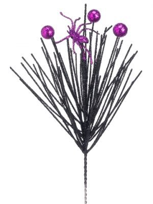 "10.5"" Glittered Spider Pick Black Purple"