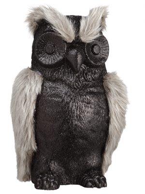 "10"" Glittered Fur Owl Black Gray"