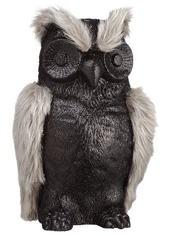 "10"" Glittered Fur Owl Black Gray"