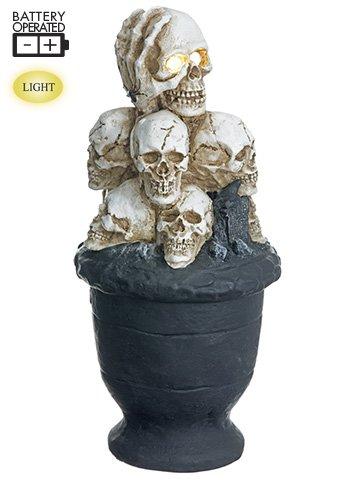 "10.5"" Battery OperatedStacking Skull Pot With LightCream Black"