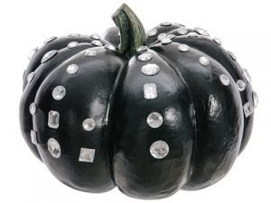 "7""H x 11""D Jeweled WeightedPumpkinBlack Clear"