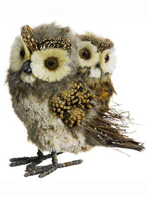 """8""""H x 5""""Lx9.5""""W Xmama Owl WithBaby OwlGray Brown"""