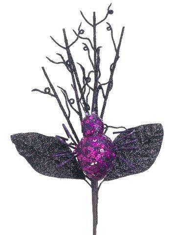 "12"" Glittered Spider Pick Purple Black"