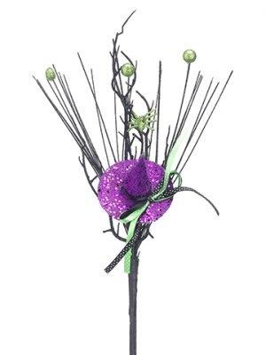 "16"" Witch Hat/Grass Pick Green Purple"