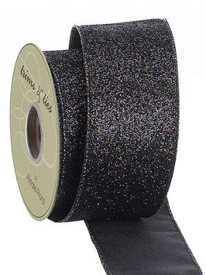 """2.5""""W x 10yd Glittered Ribbon Black"""