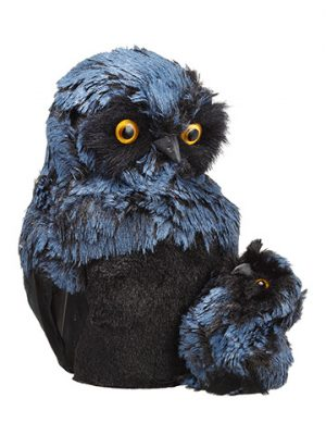 """7"""" Mother And Child Owl Black Blue"""