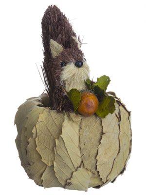 """7.5"""" Squirrel in Pumpkin WithAcornBrown Beige"""