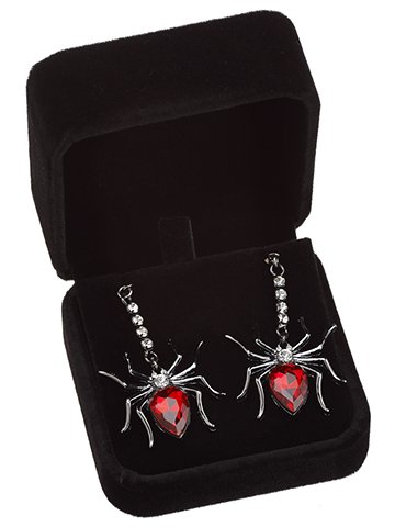 "1.25"" Rhinestone SpiderEarrings (2 ea/set)Red Silver"
