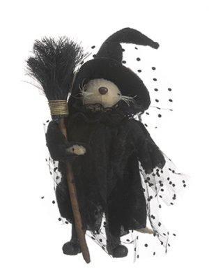 """9"""" Halloween Little MouseWith BroomBlack Brown"""