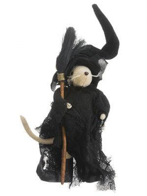 "12"" Halloween Mouse With Broom Black Brown"