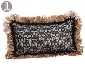 "17""W x 28""L Skull Lace Pillow Black Cream"